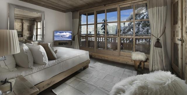 Francie, Alpy, hotel, nábytek, záclony, postel, výhled, okno, koupelna