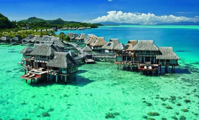 příroda, v tropech, letovisko, francouzská polynésie, dovolená, dům a pohodlí, hory, oceán, nebe