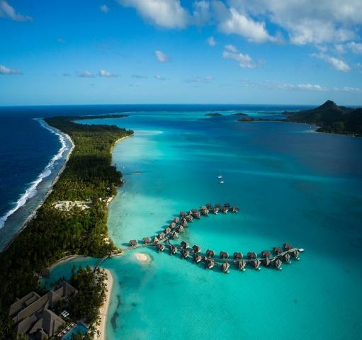 ostrov Tahiti, oceán, dovolená, laguna, chaty, nebe, krása