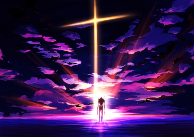 art, craft ghost, Anime, neon genesis evangelion, eva 01, ROBOT, fur, sunset, the sky