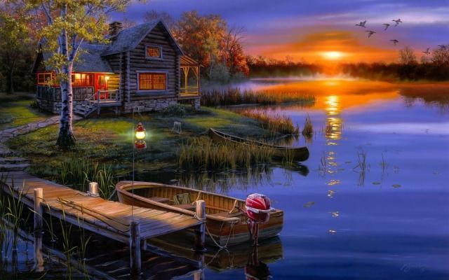 Даррелл Буш, утки, закат, озеро, лодка, пейзаж, осень, домик