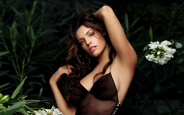 Келли Брук, брюнетка, актриса, секси, грудь, фон, зелень, цветы