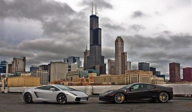 Lamborghini, феррари, car, sports car, the city, skyscrapers, lamborghini, ferrari
