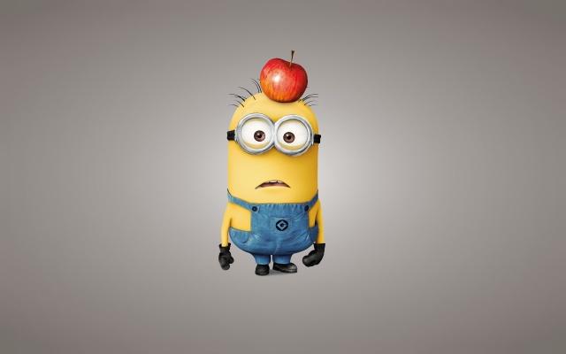 Despicable me 2, Mignon, cartoon, positive, grey background, Apple
