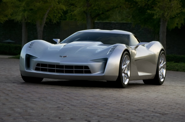 Auto, Corvette Stingray, machine, road, trees