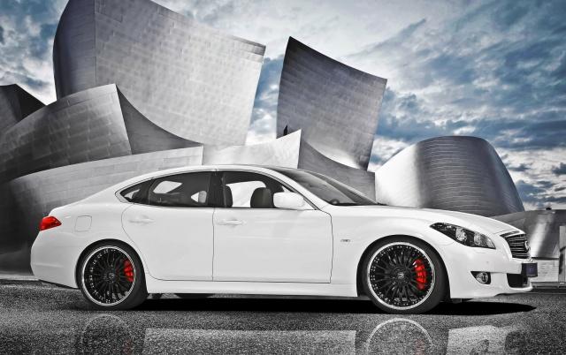 Infiniti, m30d, car, white, stylish, background, tuning, the sky