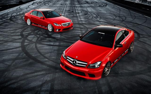 Mercedes Benz, c350, tuning, e350, Mercedes Benz, car, sports car, Red