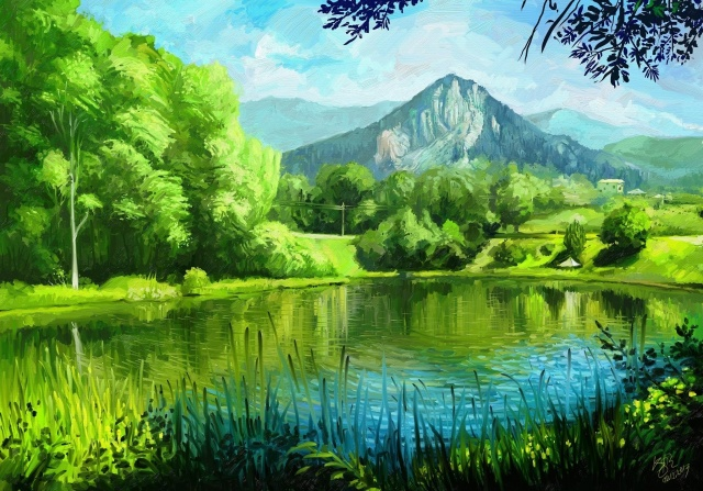 picture, painting, art, summer, mountains, nature, the pond, the village