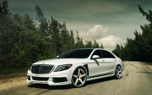Mercedes Benz, Mercedes Benz, car, road, forest, the sky, cloudy
