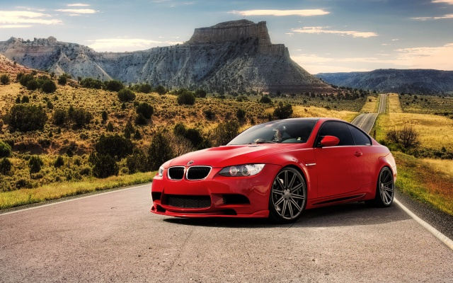 BMW, car, road, mountains, nature, Red, sports car, bmw