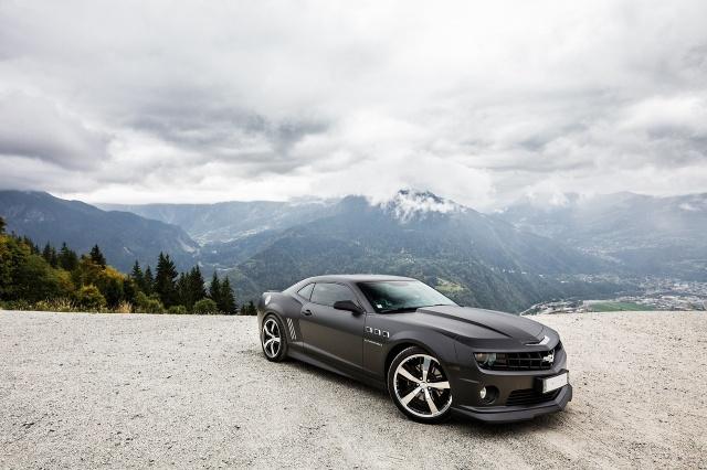 Chevrolet, černá, hory, tuning, nebe, zataženo