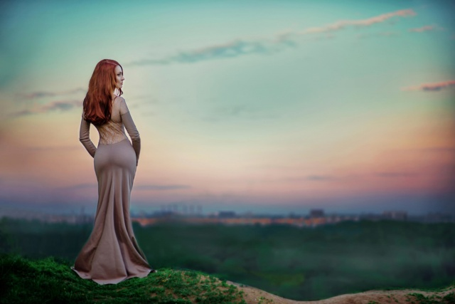 girl, macro, photo, nature, the city, the sky, sunset, dress, red