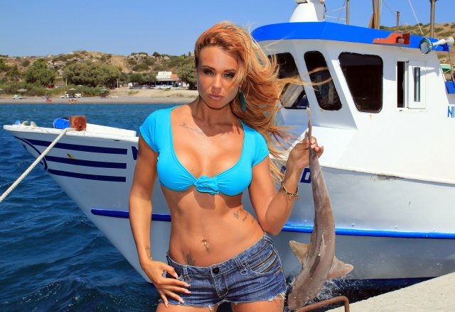 Ashley Bulgari, model, view, chest, fish, ship, Greece