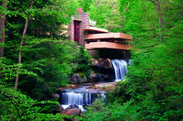 house and comfort, nature, waterfall, cascades, trees, river, forest, beautiful
