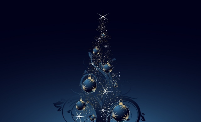 New year, art, fantasy, tree, the dark background