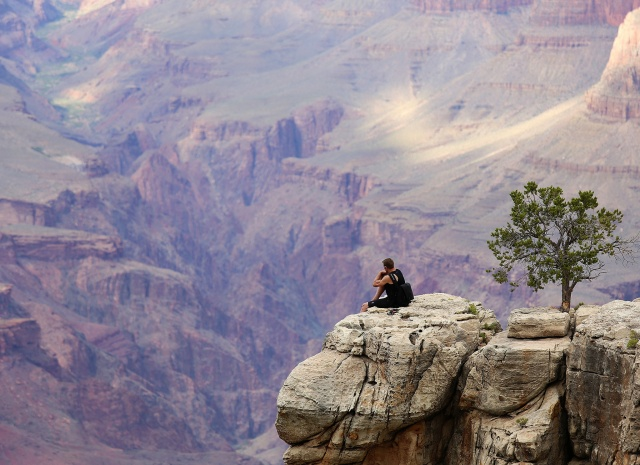 природа, большой каньон, турист, скалолаз, обрыв, красиво