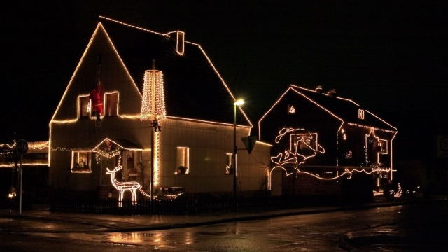 dekorace, noc, Vánoce, dům
