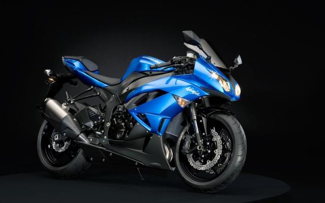 Motocykl, the bike, blue, kawasaki, ninja .