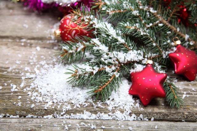 stůl, sníh, vánoční strom, vánoční hračky