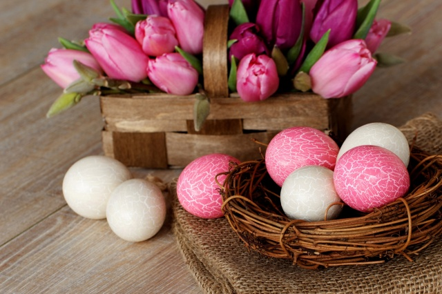 Easter, EGGS, flowers, tulips, table