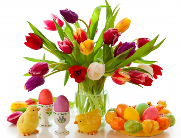 Easter, tulips, EGGS, Toys, white background