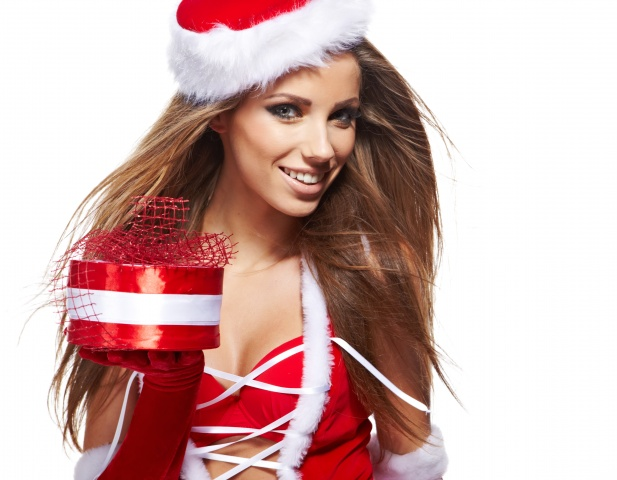 the snow maiden, brown hair, gift, girl, smile, hat