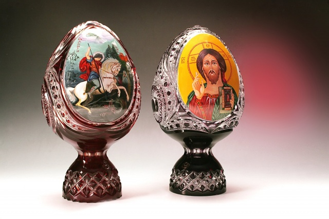Jiří, křesťanské svaté, ikona, formulář, vejce, křišťálové sklo, řezání, velikonoce