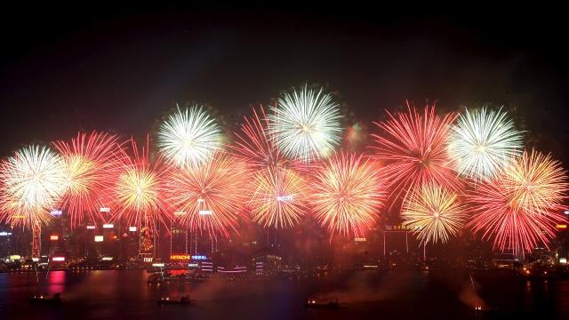 Ohňostroj, nový rok, hong kong, čína, 2014