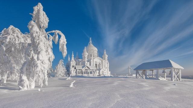 білогірський монастир, зима, сніг