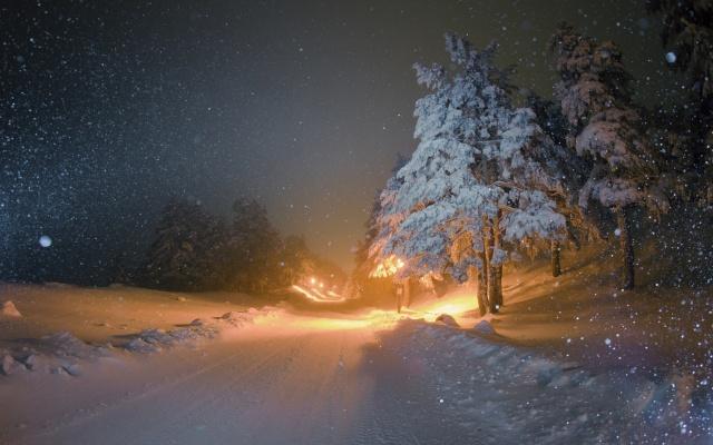 зима, дорога, сніг, красиво, вечір, вогники