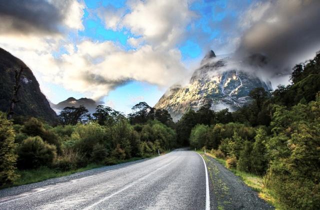 cesta, skály, mraky, nebe, stromy, krása