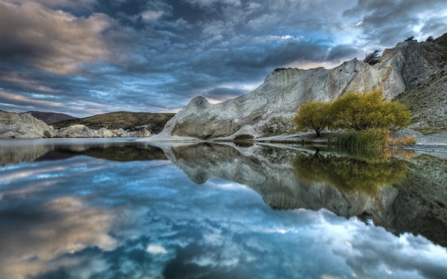 lake, mountain, reflextion, water, sky, blue