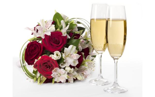 kytice, květina, růže, květiny, šampaňské, sklenice