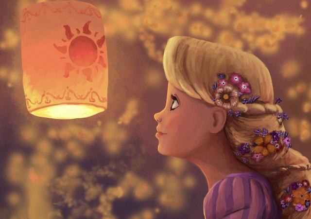 profile, art, girl, flowers, Rapunzel, flashlight