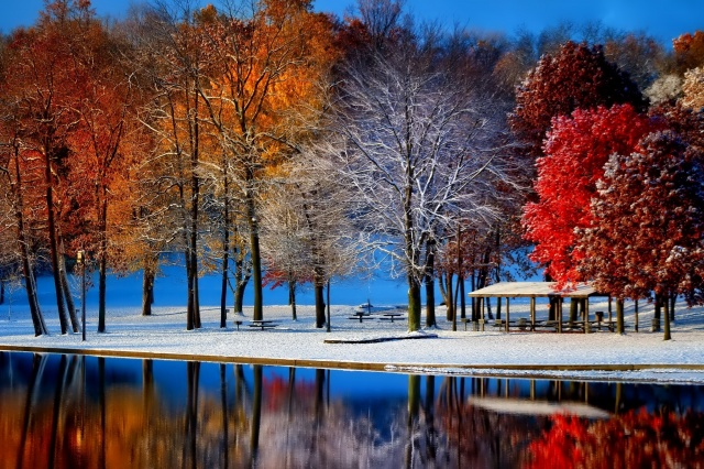 late autumn, Park, the pond, trees, snow, reflection