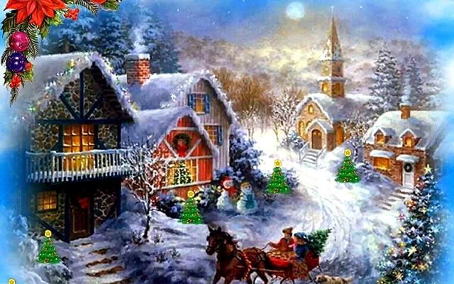 vánoční noc, chaty, sníh