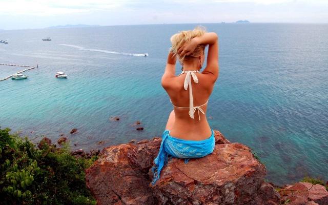 sedí na kameni, oceán, holka, příroda, Thajsko, skála