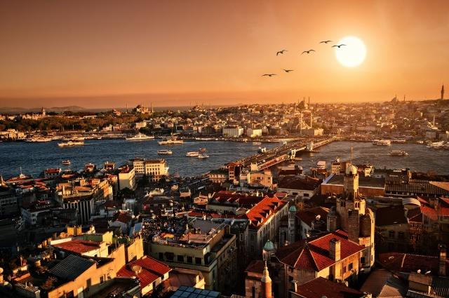 вечер, город, закат, Стамбул, Турция, панорама, пейзаж, Стамбул