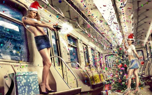 champagne, metro, girls, New year