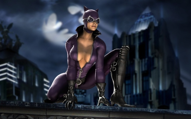 the heroine, woman, cat, Batman, on the roof, pose, costume