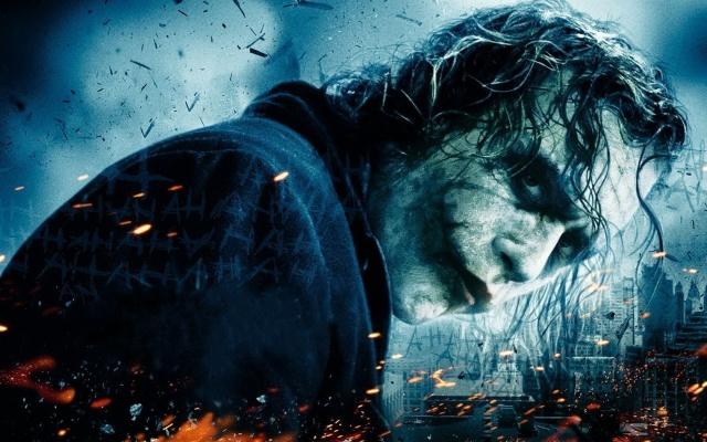 joker, modrá, město, batman, v popelu z ohně, černý rytíř