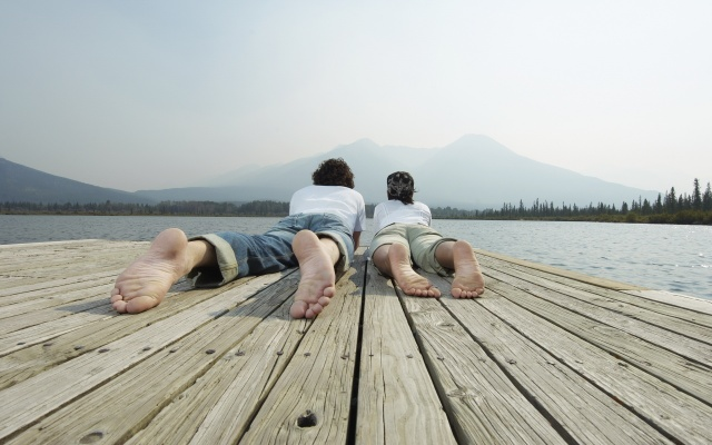 sparkling heels, lying on the dock, people, two, landscape