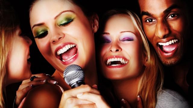 karaoke, people, smile, microphone