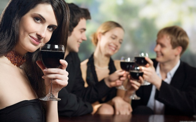 girl, Glass, tasting, Banquet, people