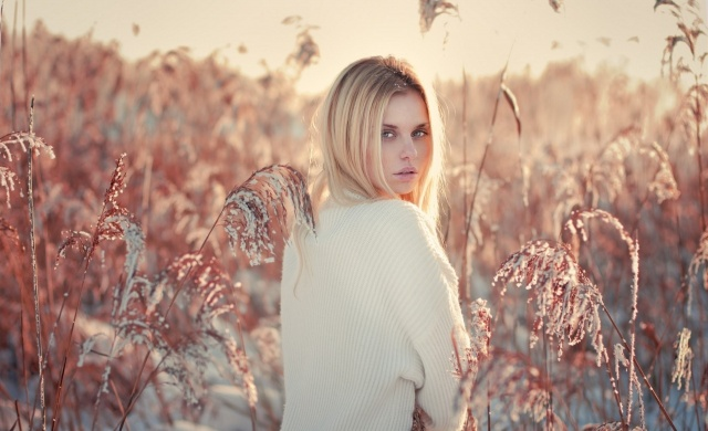 girl, blonde, macro, photo, nature, reed, winter, beautiful