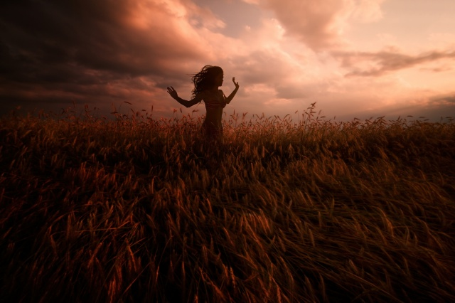 girl, field, clouds