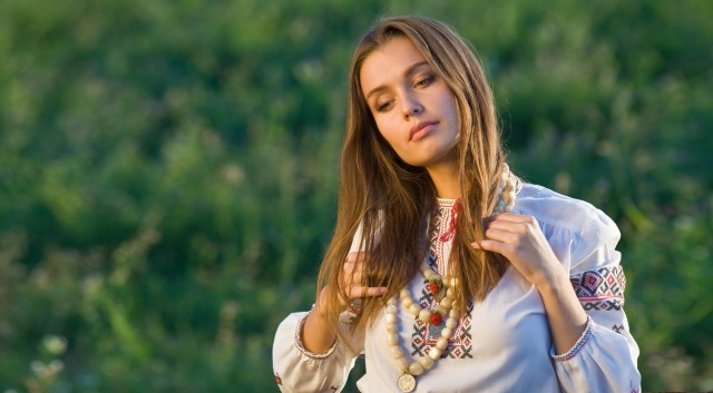 Ukrainka, blond, holka, retro, módy, krásná, 2015