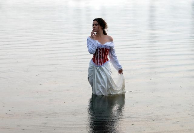 girl, mood, river
