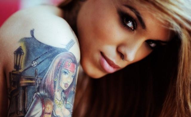 girl, blonde, view, piercing, tattoo, beautiful