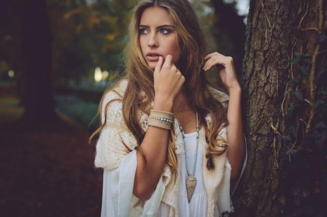 girl, blond, beautiful, theme, Owl, photo, nature, autumn, fashionista